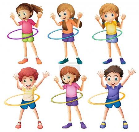 Kids playing hulahoop