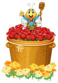 A happy bee above the basket of flowers
