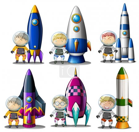 Explorers beside the rockets