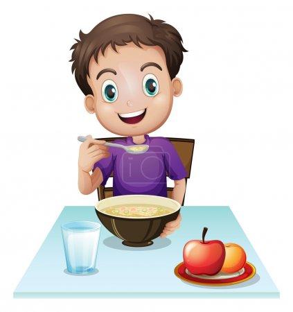Illustration pour Illustration d'un garçon prenant son petit déjeuner à table sur fond blanc - image libre de droit