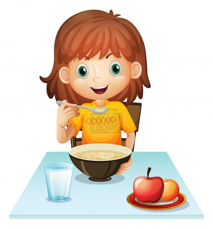 A little girl eating her breakfast