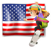 A female skater near the USA flag