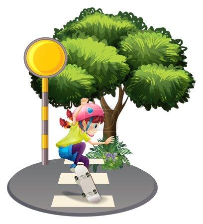 A girl skating at the pedestrian lane near the big tree
