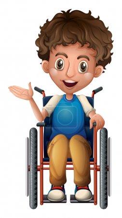 Illustration pour Illustration d'un homme heureux en fauteuil roulant sur fond blanc - image libre de droit