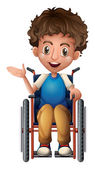 A happy man riding on a wheelchair