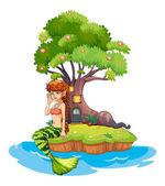 A beautiful mermaid near the treehouse