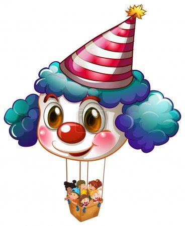 A big clown balloon with a basket full of kids