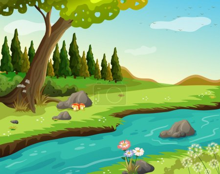 Illustration of a river at the forest...