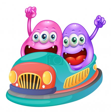 Monsters riding on a bumpcar