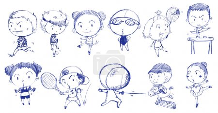 Diseño doodle azul de las personas que juegan con los diferentes deportes