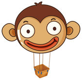 A monkey balloon with an empty basket