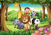 Ein Wald mit Tieren