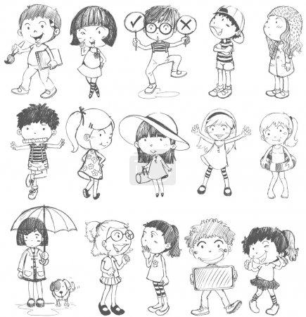 Illustration pour Illustration des enfants dans la conception de doodle sur un fond blanc - image libre de droit
