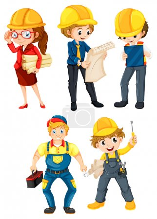 Photo for Illustration of the hardworking people on a white background - Royalty Free Image