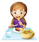 Illustration of a hungry girl eating lunch on a white background