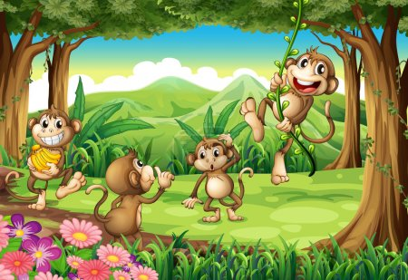 Illustration for Illustration of monkeys playing in the forest - Royalty Free Image