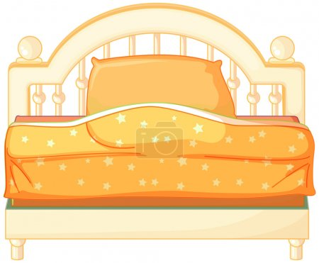 Illustration for Illustration of a king sized bed on a white background - Royalty Free Image