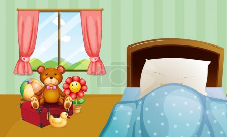 Illustration for Illustration of a children bedroom with toys - Royalty Free Image