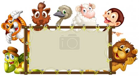 Illustration for Illustration of a set of animals around a sign - Royalty Free Image