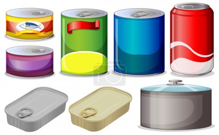 Illustration for Illustration of  different type of cans - Royalty Free Image