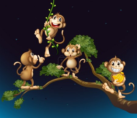 A tree with four playful monkeys