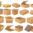 Ilustration of a set of different cardboard boxes...