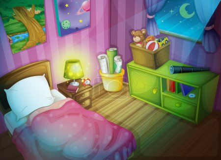Illustration for Illustration of a bedroom at night - Royalty Free Image