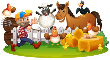 Illustration for Illustration of the farm animals on a white background - Royalty Free Image