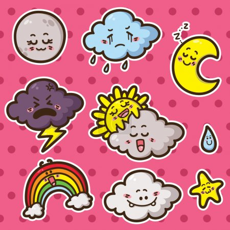 First kawaii set of weather icons.
