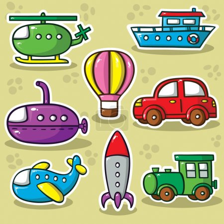 Photo pour Collection de jouets de transport vectoriels mignons - image libre de droit