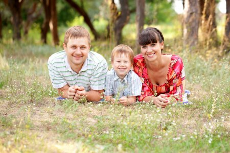 Father, mother and son on the grass.