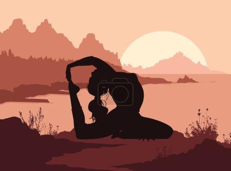 Illustration pour Silhouette de femme faisant du yoga en montagne. Illustration vectorielle - image libre de droit