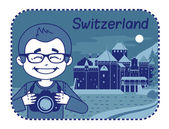 Illustration with Chillon Castle in Switzerland