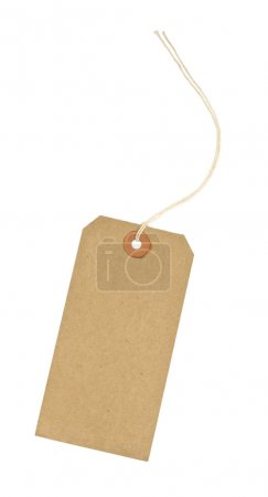 Photo for Traditional cardboard price tag with white string threaded through the reinforced hole isolated against a white background - Royalty Free Image