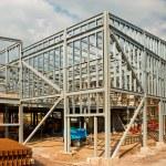The skeleton frame of a Steel framed building show...