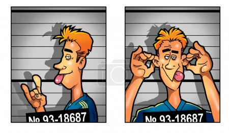 Criminal mug shot of drunk joyfull man