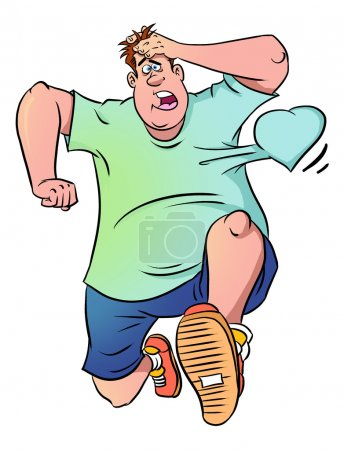 Photo for Runner in panic with his heart beating out of his chest - Royalty Free Image