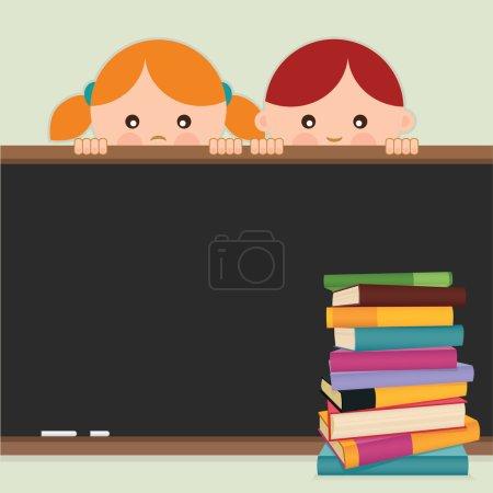 Illustration pour Je retourne à l'école. Retour à l'école-enfants, tableau noir et livres. Illustration vectorielle . - image libre de droit