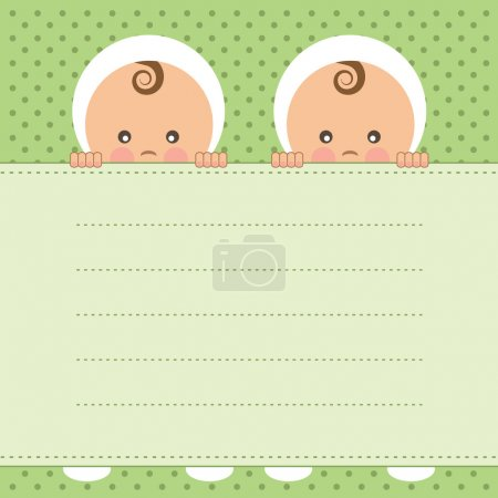 Illustration for Baby twins announcement card. Vector illustration. - Royalty Free Image