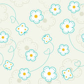 Seamless pattern with flowers and butterflies Vector background