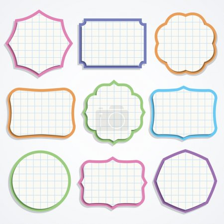 Illustration for Set of colorful note paper shapes. Vector illustration. - Royalty Free Image