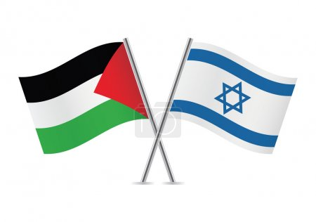 Palestine and Israel flags. Vector illustration.