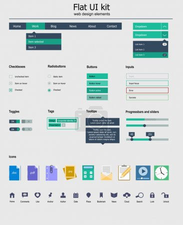 UI kit is a of beautiful components featuring the flat design, with icon set