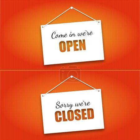 Illustration pour Panneau de signalisation de porte ouverte et fermée. Illustration vectorielle . - image libre de droit