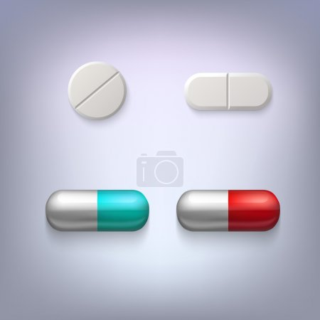 Illustration for Tablets and pills vector illustration, isolated on colored background - Royalty Free Image