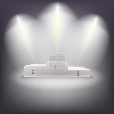 Illuminated business winners podium.