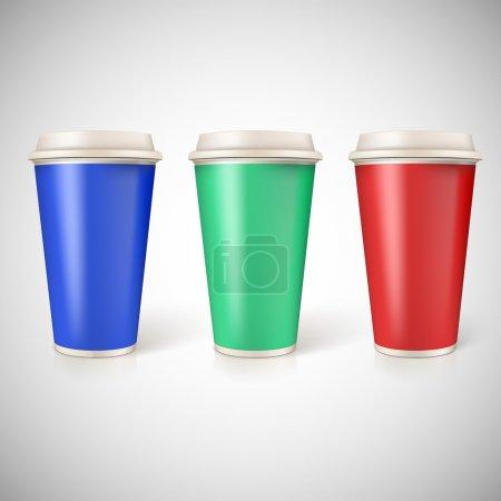 gobelets jetables pour le café, agrandi avec étiquettes multicolores