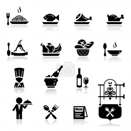 Illustration pour Icônes ensemble Restaurant - image libre de droit