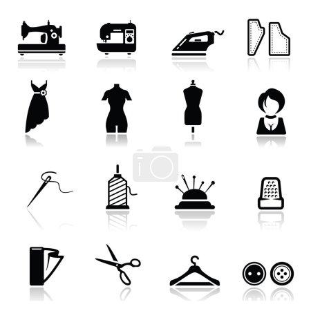 Illustration pour Icônes ensemble Couture et fashio - image libre de droit