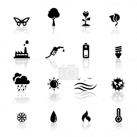 Illustration for Icons set environment and global warming - Royalty Free Image